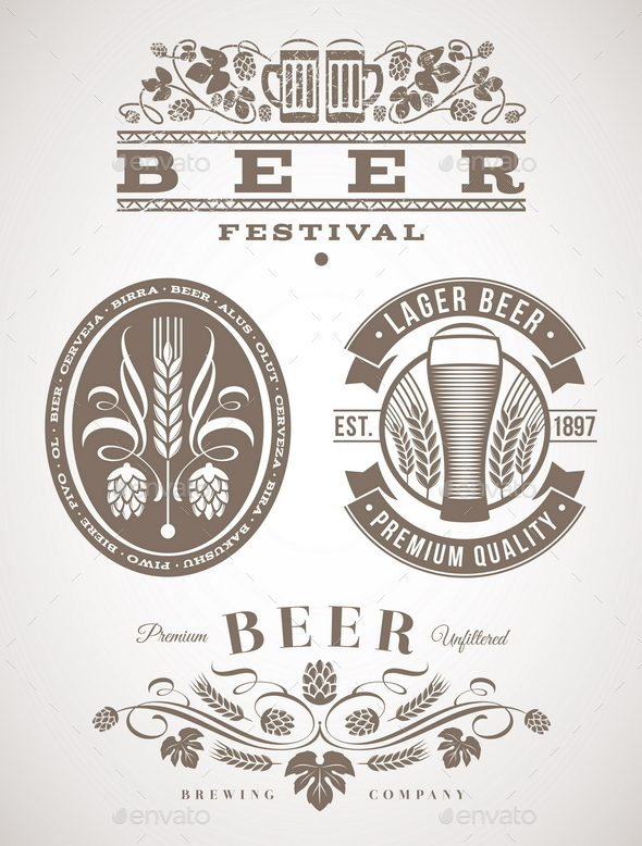 Beer Emblems and Labels - Decorative Symbols Decorative