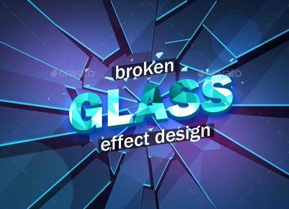 Broken Glass Design Template - Abstract Backgrounds