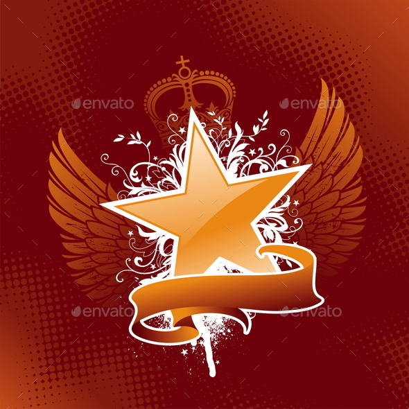 Grunge Star with Wings and Banner - Backgrounds Decorative