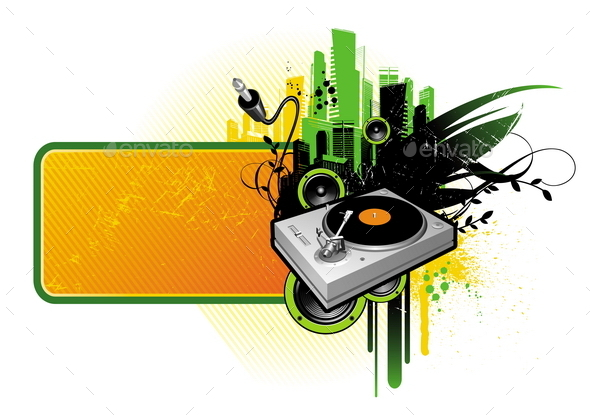 Grunge Banner with Turntable and Loudspeakers - Objects Vectors