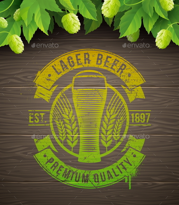 Beer Emblem on Wooden Surface and Ripe Hop - Food Objects