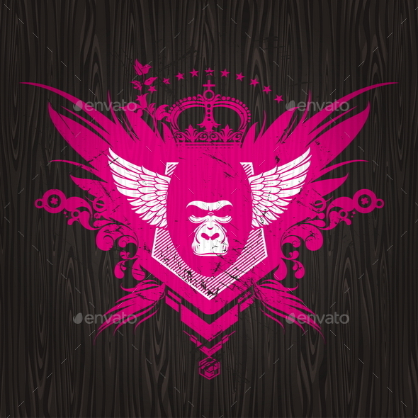 Abstract Heraldic Emblem with Gorilla - Backgrounds Decorative