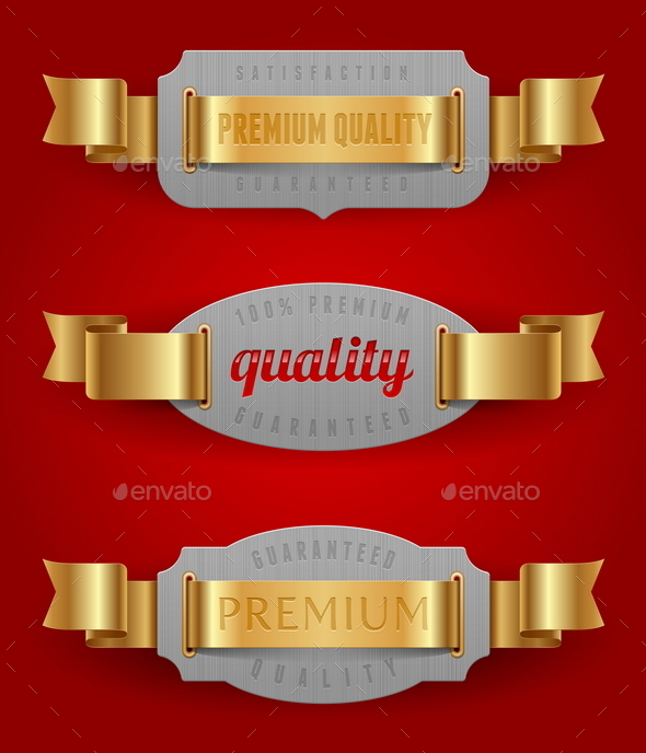 Decorative Quality Label with Golden Ribbons - Decorative Symbols Decorative