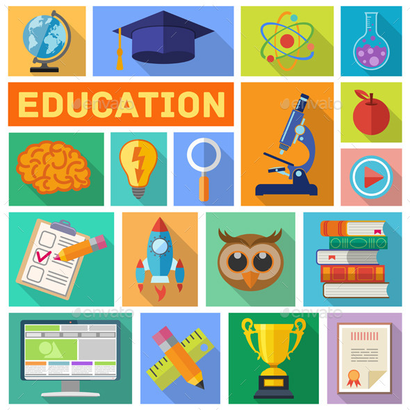 Education Flat Icon Set - Web Elements Vectors