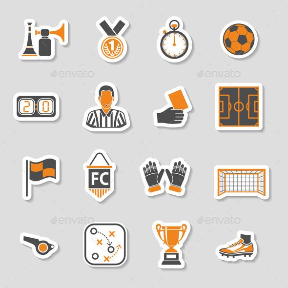 Soccer Icon Sticker Set - Sports/Activity Conceptual