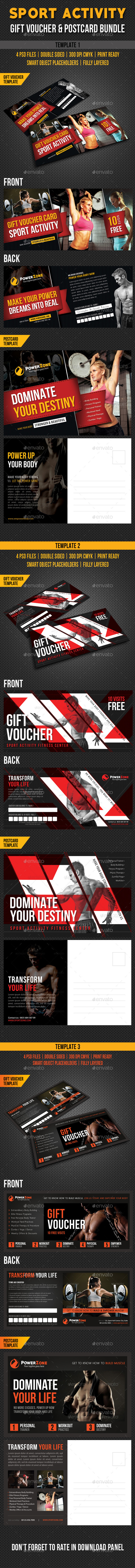 3 Sport Activity Gift Voucher and Postcard Bundle - Cards & Invites Print Templates