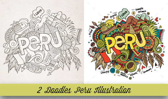 Peru Doodles Illustrations - Travel Conceptual