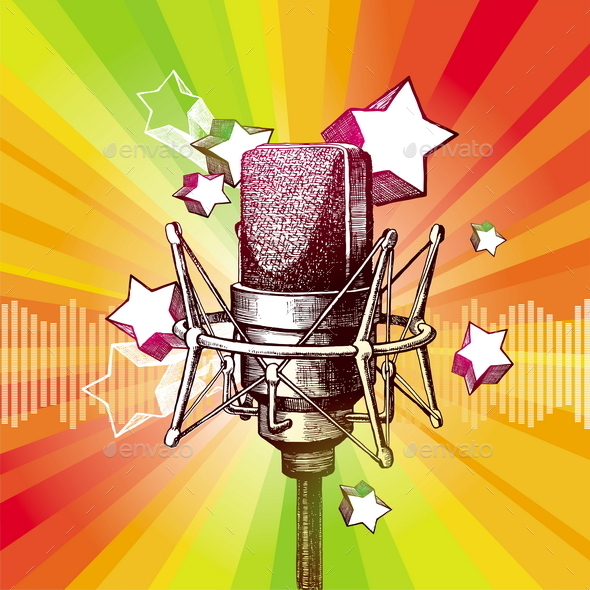 Hand Drawn Microphone and Stars - Objects Vectors