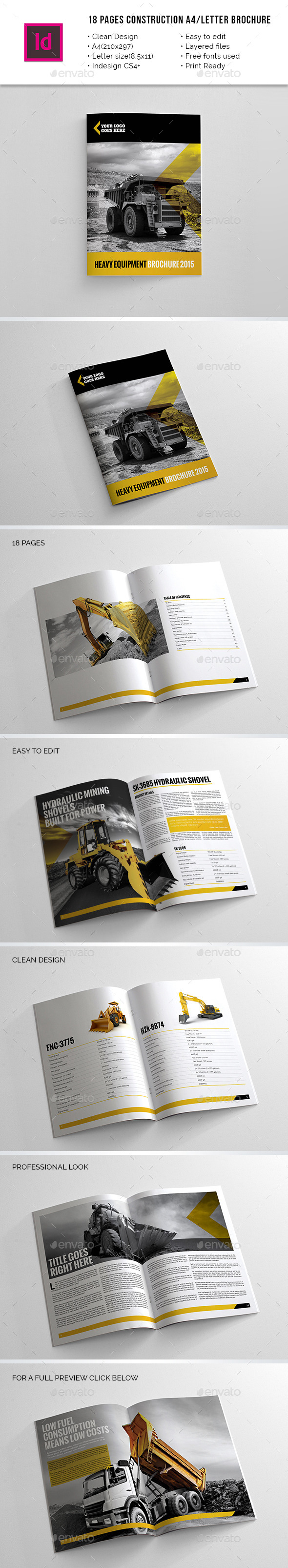 18 Pages Construction A4 / Letter Brochure - Brochures Print Templates