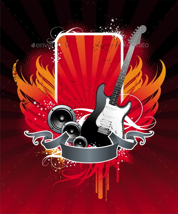 Grunge Musical Banner with Electro Guitar and Loud - Vectors