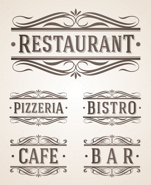 Vintage Restaurant and Cafe Labels and Signs - Decorative Vectors