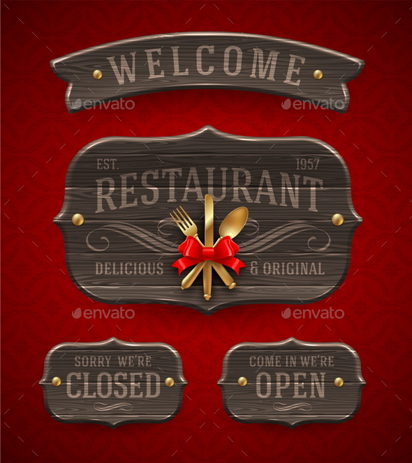 Set of Vintage Wooden Restaurant Signboards - Decorative Vectors
