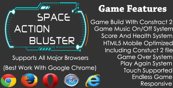 Space Action Bluster HTML5 Endless Shooting Game - CodeCanyon Item for Sale