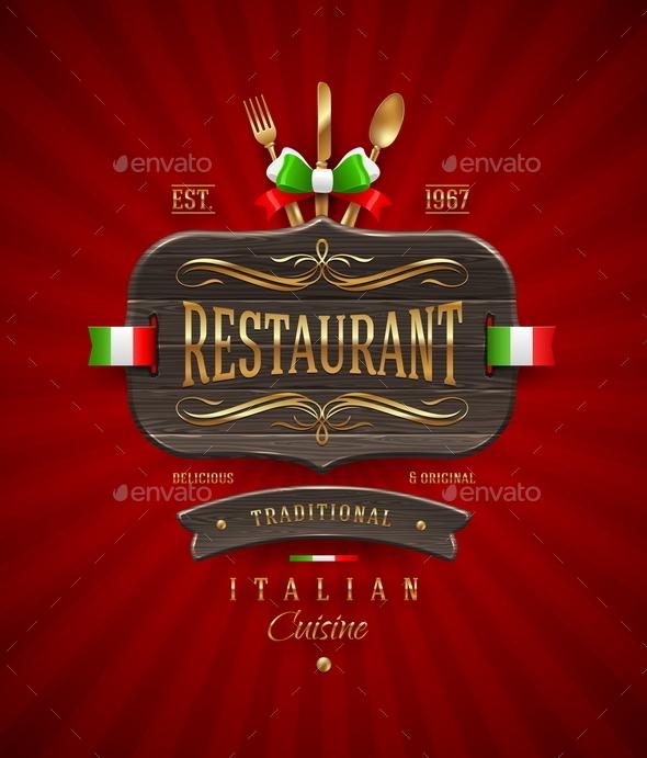 Vvintage Wooden Signboard of Italian Restaurant - Decorative Vectors