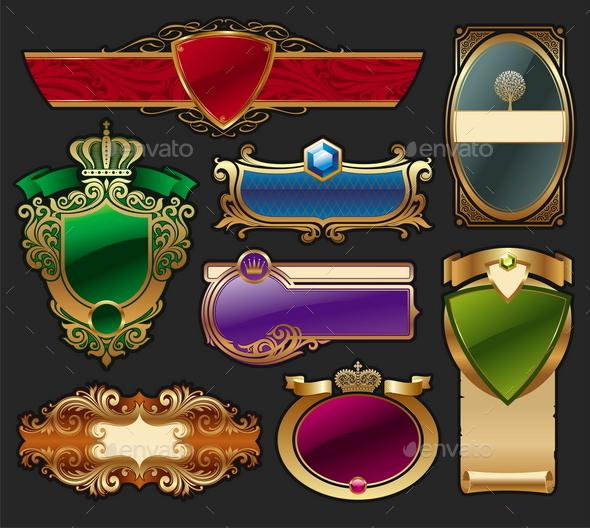 Set of Golden Luxury Framed Label - Decorative Vectors
