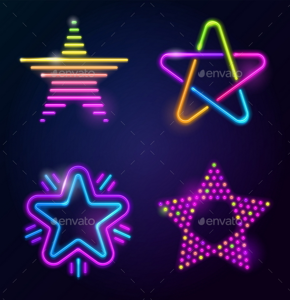 Set of Decorative Vector Neon Stars - Vectors