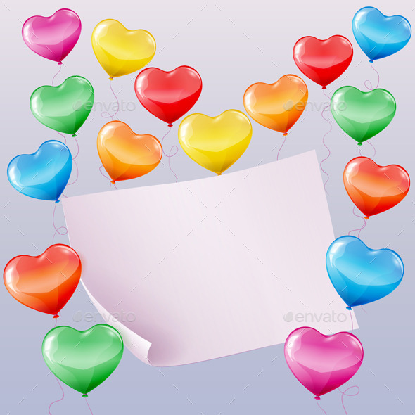 Heart Shaped Balloons Background - Birthdays Seasons/Holidays