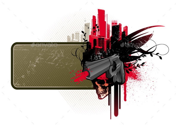 Grunge Banner Frame with Gun, Skull and Cityscape  - Objects Vectors