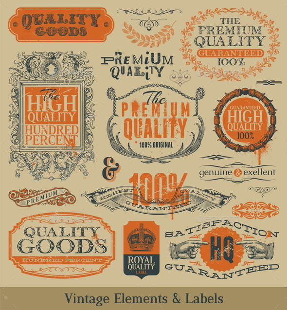 Vector Vintage Emblems, Signs and Labels - Decorative Vectors