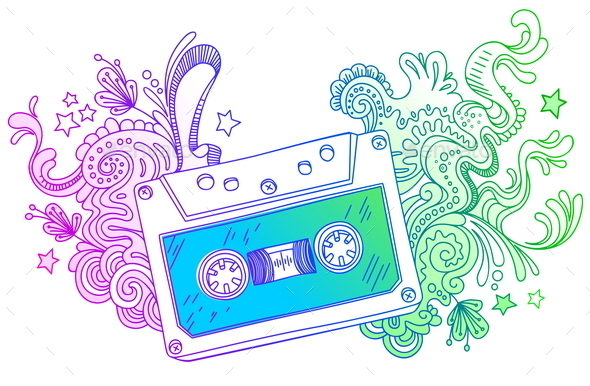 Dand Drawn Audio Cassette with Line Art Decor - Objects Vectors