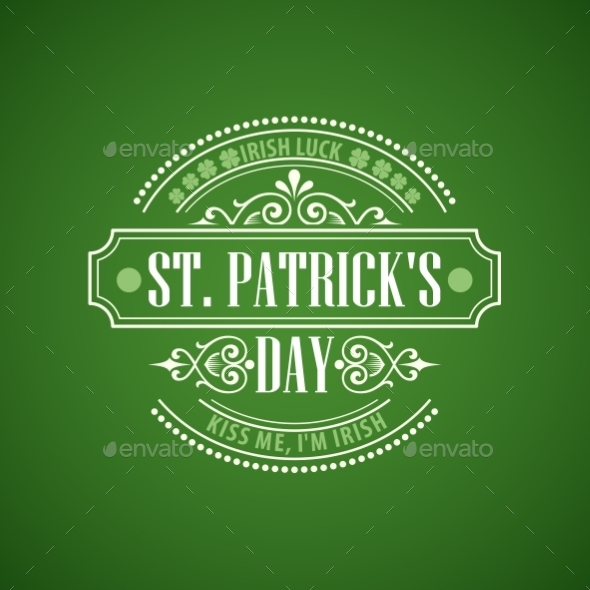 Typography St Patricks Day Emblem - Miscellaneous Seasons/Holidays