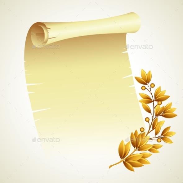 Laurel Branch and a Scroll - Backgrounds Decorative