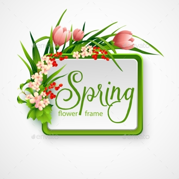 Spring Frame with Flowers - Flowers & Plants Nature