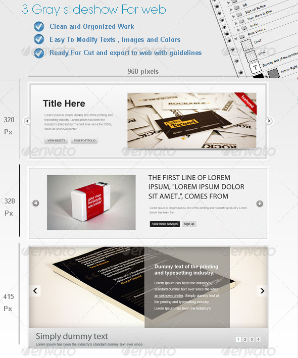 3 Gray Web SlideShows - Sliders & Features Web Elements