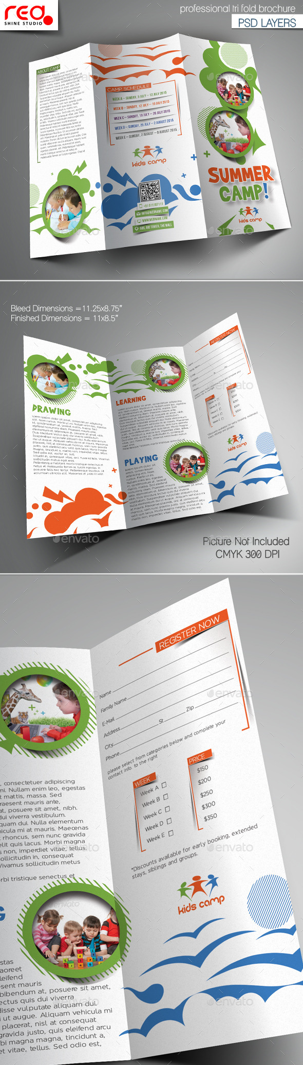 Summer Camp Trifold Brochure Template - Brochures Print Templates