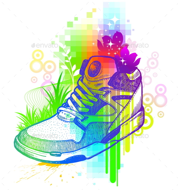 Abstract Colorful Illustration with Sneaker - Objects Vectors