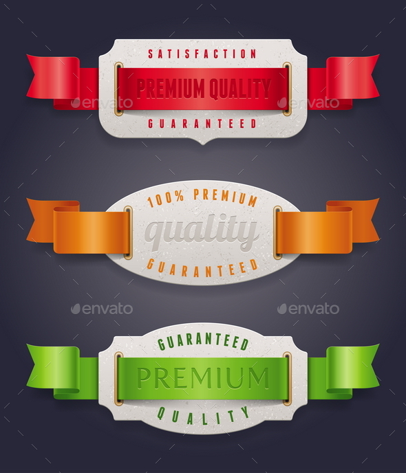 Labels of Quality with Color Ribbon - Decorative Symbols Decorative