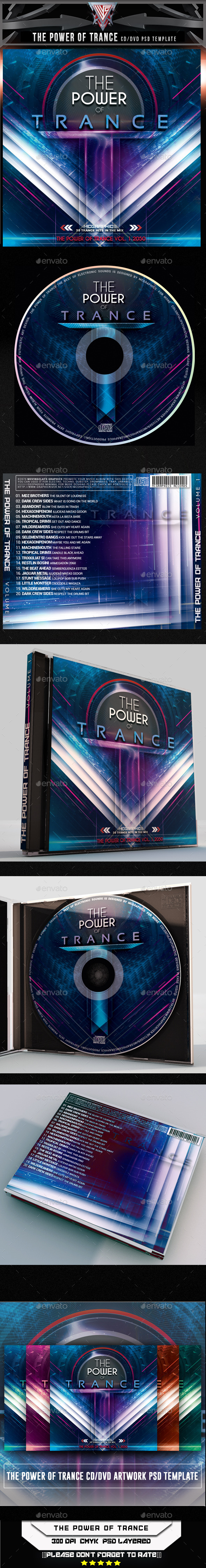 The Power of Trance CD/DVD Template - CD & DVD Artwork Print Templates