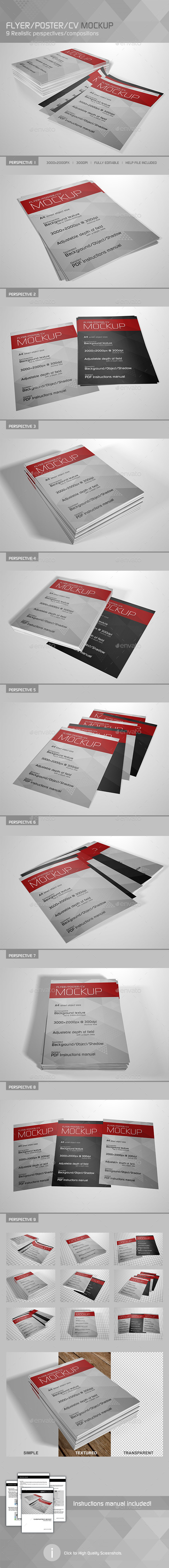 Realistic Flyer/Poster/CV Mockup 3 - Flyers Print