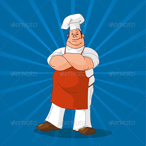 Confident Cook on Blue Background - Food Objects