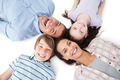 High angle portrait of happy family lying on white background - PhotoDune Item for Sale