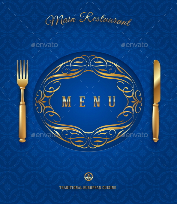 Menu with Golden Cutlery and Ornate Elements - Backgrounds Decorative