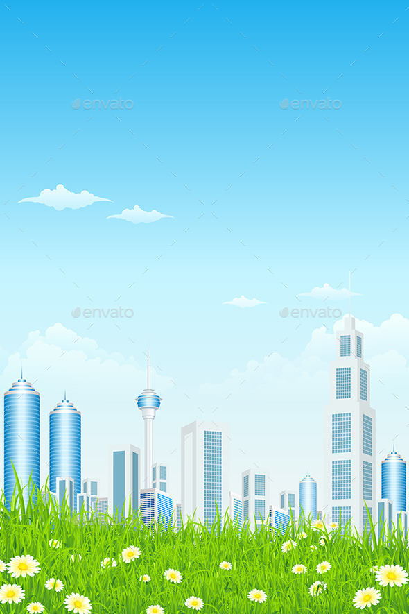 Green Grass with Skyscrapers - Landscapes Nature