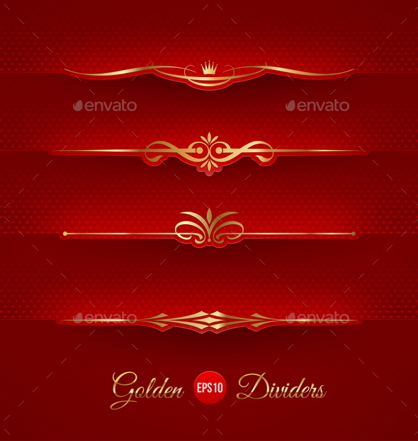 Set of Golden Decorative Dividers - Borders Decorative