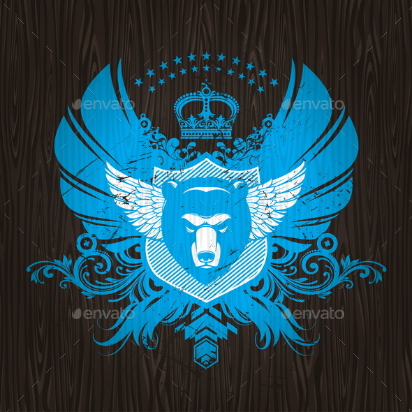 Abstract Heraldic Emblem with Bear Head - Backgrounds Decorative
