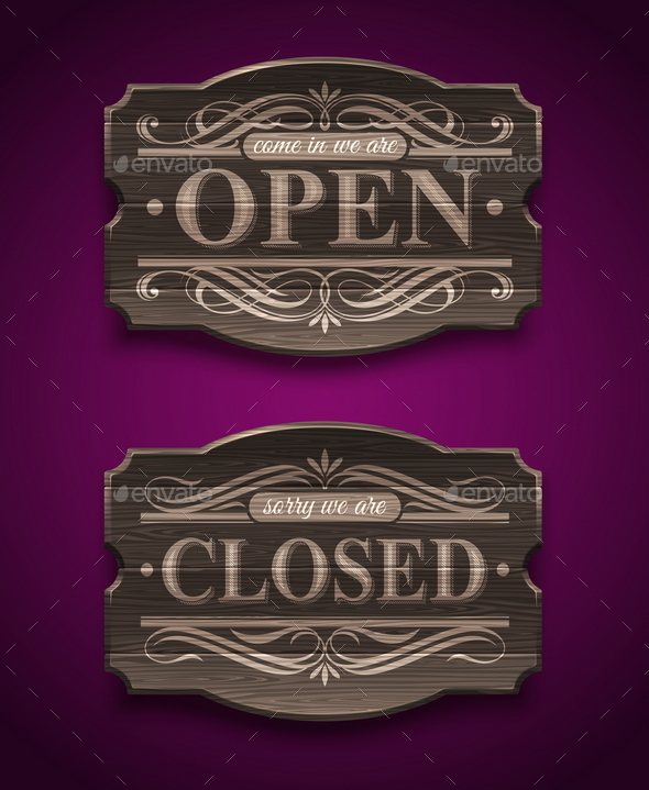 Open and Closed Wooden Ornate Vintage Signs - Decorative Symbols Decorative
