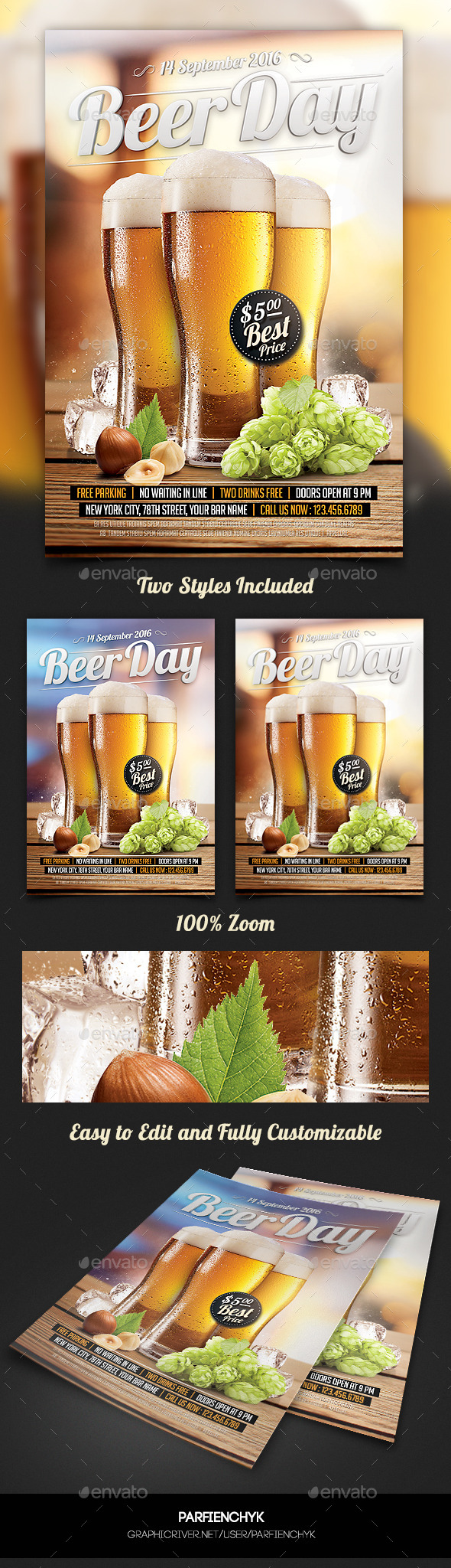 Beer Day Party Flyer Template - Clubs & Parties Events