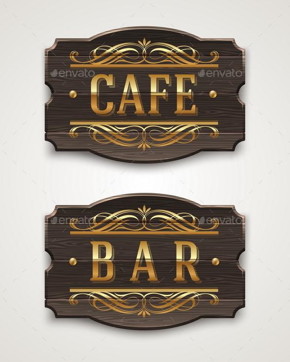 Vintage Wooden Signboards for Cafe and Bar - Decorative Symbols Decorative