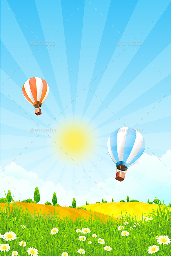 Landscape with Hot Air Balloons - Landscapes Nature