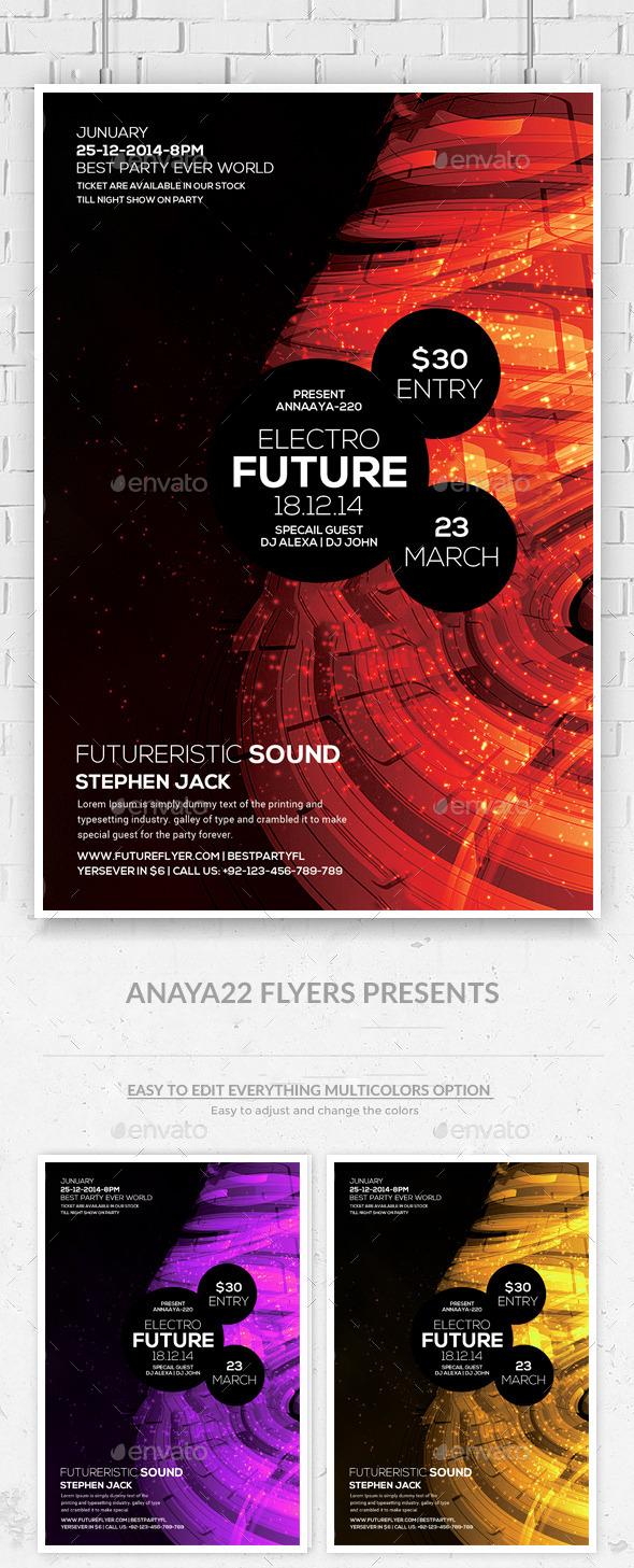 Minimal Futuristic Psd Flyer Templates - Clubs & Parties Events
