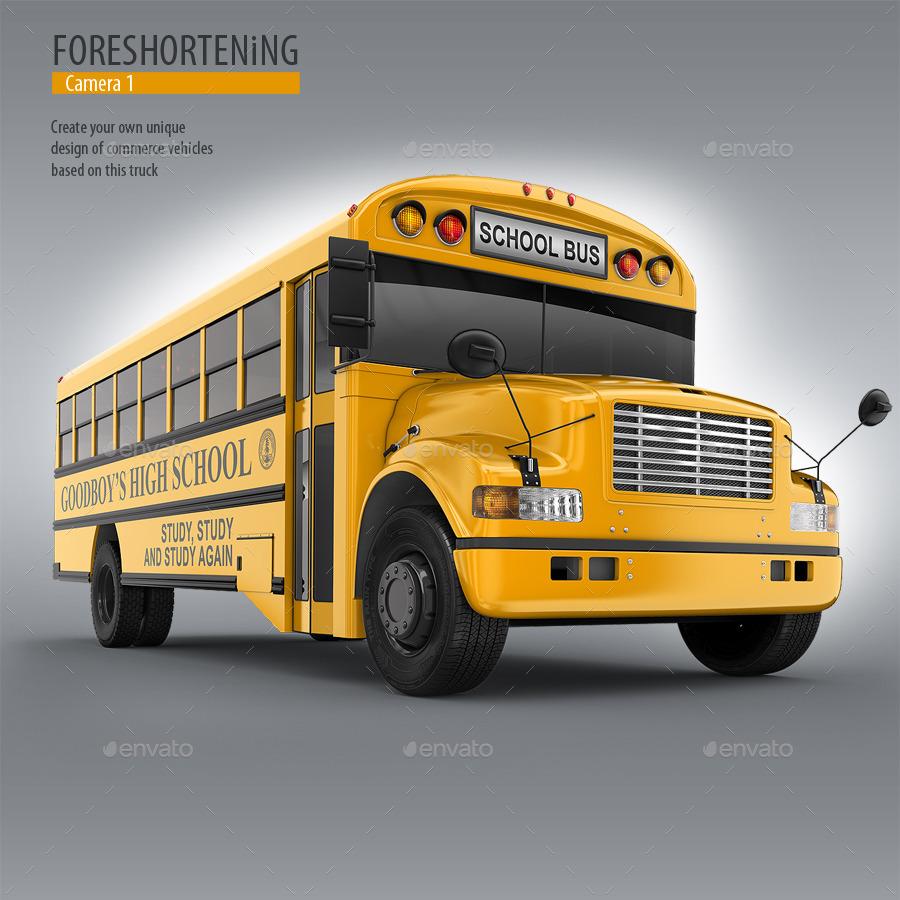 School Bus Mock-Up. 3d Schoolbus By Bennet1890
