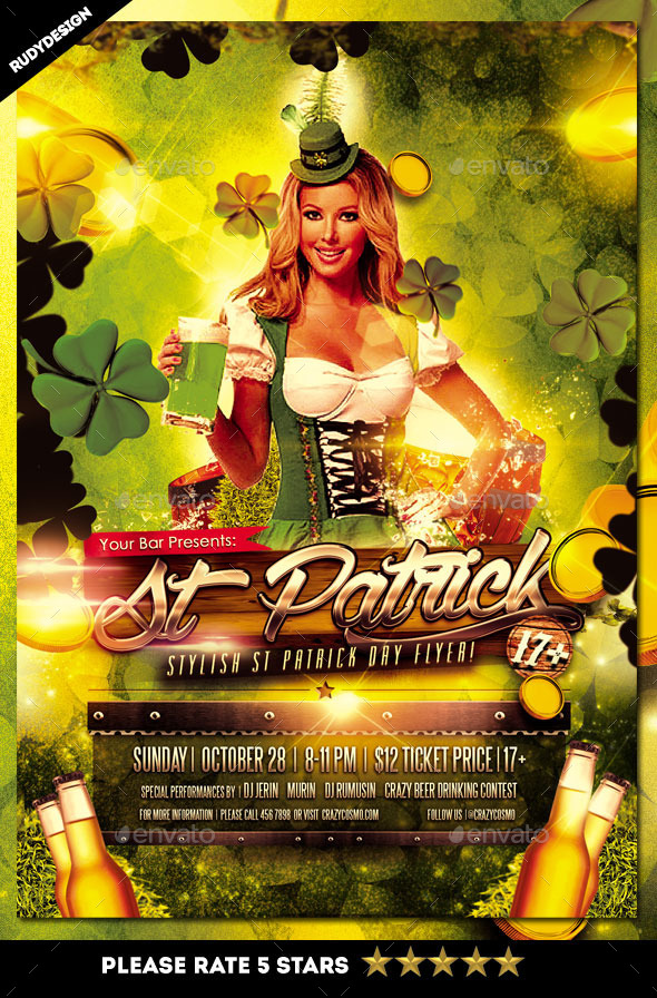 Stylish Saint Patrick Day Party Flyer Template - Holidays Events