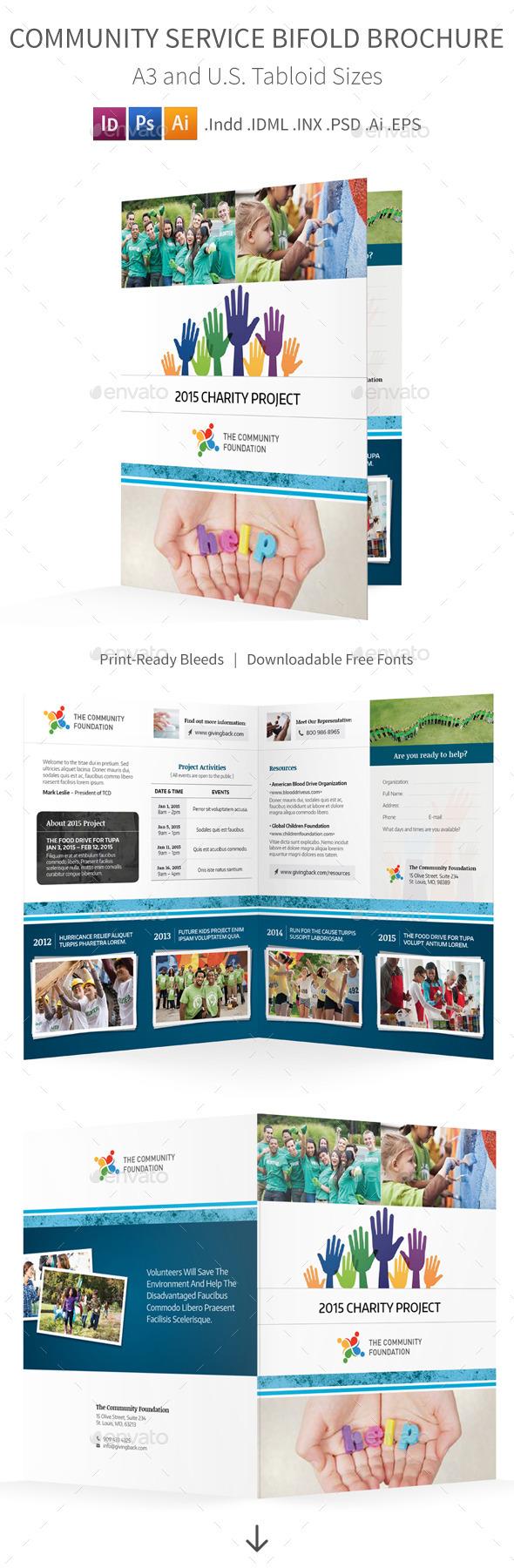 Community Service Bifold / Halffold Brochure - Informational Brochures