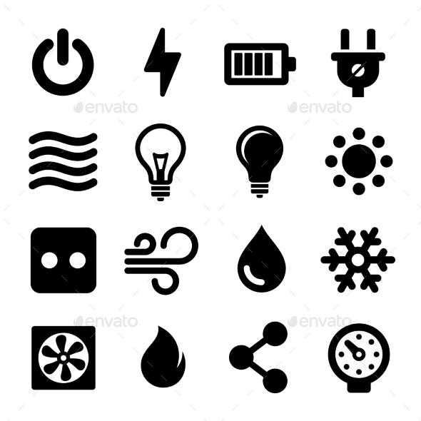 Electric Icons Set - Technology Icons
