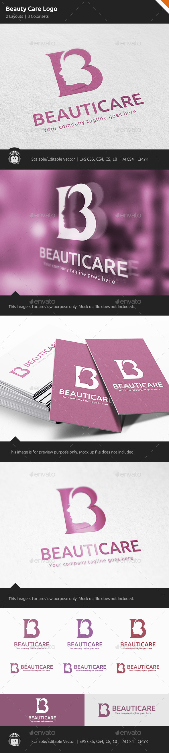 Beauty Care Woman Logo - Letters Logo Templates