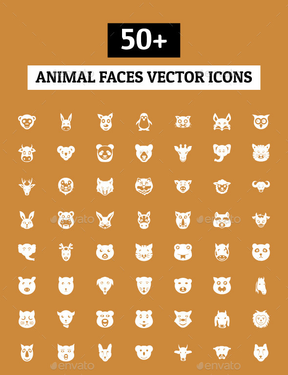 50+ Animal Faces Vector Icons - Animals Characters